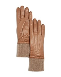 Bloomingdale's Cashmere Cuff Leather Gloves Taupe