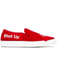 Joshua Sanders 'Delete Shut Up' Slip On Sneakers Red