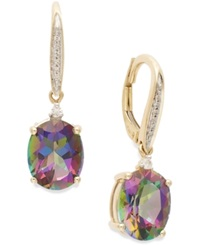 Macy's Mystic Topaz 6 1 3 Ct. T.W. And Diamond Accent Oval Drop Earrings In 14K Gold