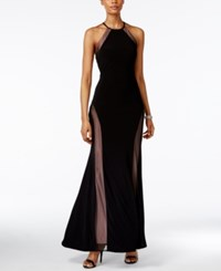 Nightway Open Back Illusion Halter Gown Black Nude