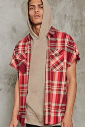 Forever 21 Frayed Sleeveless Flannel Shirt Red Taupe