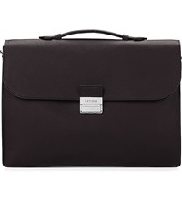 Aspinal Of London Combination Lock Pebble Embossed Leather Briefcase Brown