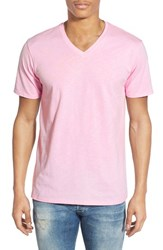 The Rail Men's Slub Cotton V Neck T Shirt Pink Lavender