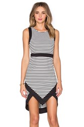 Minkpink Hide And Seek Peak Hem Mini Dress Black And White