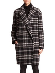 Nicholas Double Breasted Check Coat Black White