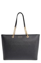 Michael Michael Kors 'Medium Jet Set Chain' Saffiano Leather Tote Black Black Gold