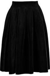 Maje Pleated Velvet Skirt Black