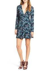 Lush Women's Floral Print Wrap Dress Teal Leaves