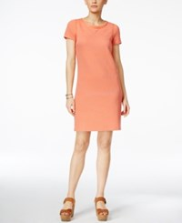 Tommy Hilfiger Phoebe Striped Short Sleeve Shift Dress Peach Pearl