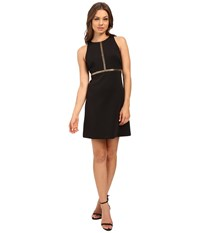 Jessica Simpson Solid A Line Dress With Gold Stud Detail Js6d8673 Black Women's Dress