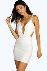 Boohoo Violet Plunge Neck Cut Out Bodycon Dress White