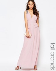Little Mistress Tall Embellished Plunge Front Peplum Waist Maxi Dress Pink