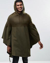 Asos Hooded Poncho In Khaki Green