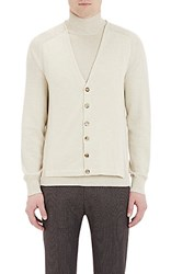 Maison Margiela Men's Trompe L'oeil Combo Turtleneck Cardigan Cream Ivory