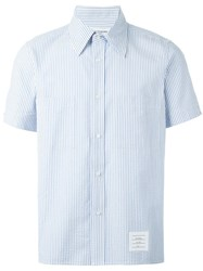 Thom Browne Striped Shortsleeved Shirt Blue