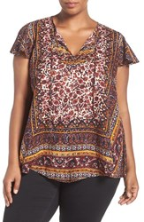 Lucky Brand Plus Size Women's Embellished Border Print Spilt Neck Top Red Multi