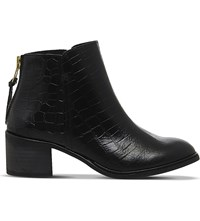 Office Inventive Crocodile Effect Leather Ankle Boots Black Leather