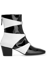 Dorateymur Two Tone Patent Leather Ankle Boots Black