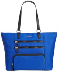 Calvin Klein Chunky Zipper Nylon Tote Blue Black