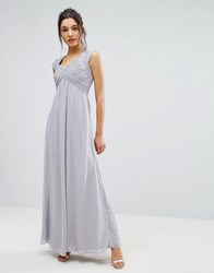 Little Mistress Crossover Empire Maxi Dress Grey