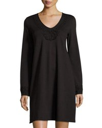 Max Studio Embroidered Detail Long Sleeve Shift Dress Black