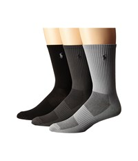 Polo Ralph Lauren 3 Pack Polypropylene Technical Crew With Arch Support And Player Embroidery Grey Assorted Grey Light Grey Black Men's Crew Cut Socks Shoes Multi