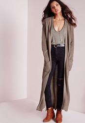 Missguided Chunky Duster Cardigan Taupe Grey