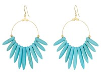 Kenneth Jay Lane 6794Et Spikes Gold Hoop Fishhook Earrings Turquoise Earring Blue