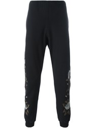 Alexander Mcqueen Rose Embroidery Track Pants Black