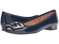 French Sole Talisman Navy Patent Women's Flat Shoes Blue