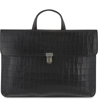 Mulberry Farringdon Croc Embossed Leather Briefcase Black