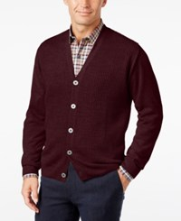 Weatherproof Vintage Men's Big And Tall Textured Cardigan Bordeaux