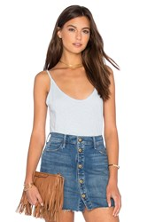 Velvet By Graham And Spencer Emmalee Cotton Slub V Neck Tank Blue