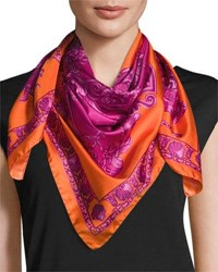Versace Silk Floral Print Circle Scarf Orange Purple