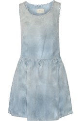 Current Elliott Gingham Cotton Mini Dress Blue