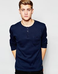 Solid Long Sleeve Grandad Top Blue