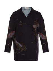 Valentino Dragon Embroidered Raw Edge Peacoat Navy