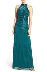 Adrianna Papell Women's T Back Beaded Mesh Gown Hunter