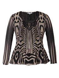 Chesca Snake Print Crush Pleat Top With Macrame Trim Brown