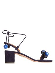 Aquazzura Disco Sequinned Pompom Suede Sandals Blue Multi