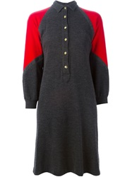 Roberta Di Camerino Vintage Knit Polo Shirt Dress Grey