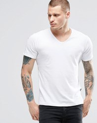 Replay T Shirt Vneck Raw Edge In White White