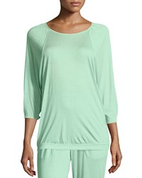 Hanro Susana 3 4 Sleeve Lounge Top Jade Green Women's Size L