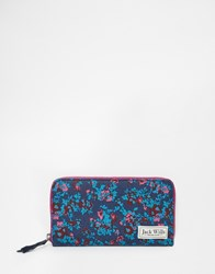 Jack Wills Zip Around Purse In Tapestry Floral Berry