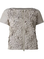 Herno Floral Appliqua Shortsleeved Jacket Grey