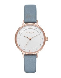 Skagen Anita Sandblast Dial Rose Goldtone Stainless Steel Leather Strap Watch Blue