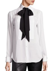 Polo Ralph Lauren Silk Tie Neck Tuxedo Shirt White