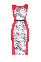 Jolie Moi Floral Insert Bodycon Dress Red