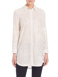 Alice Olivia Tanisha Embroidered Button Down Tunic White