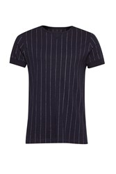 French Connection Men's Skyray Stripe Contrast Detail T Shirt Blue